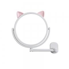 吸壁猫耳化妆镜 卡通梳妆镜-粉色 60PCS 白色 14.5cm