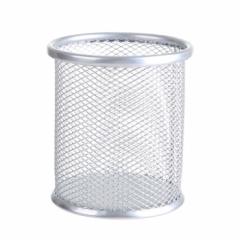 彩色镂空多功能铁艺笔筒 圆形 银色 圆形
