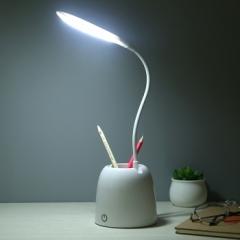 触摸台灯_USB带笔筒节能台灯 白色 见详情图