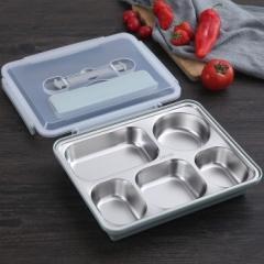 不锈钢餐盒5格 36盒/箱 北欧蓝 26.5*20*7cm