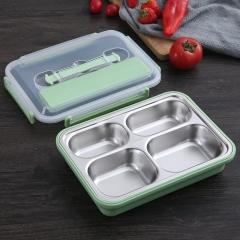 不锈钢午餐盒4格 48/箱 北欧绿 26.5*20*7cm