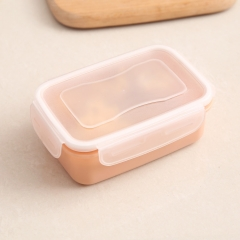 方形素色厨房保鲜盒 便携式便当盒 200/箱 素粉 14*9.5*5.2cm