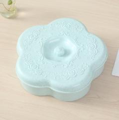 特价清仓 麦秆梅花形瓜子盘糖果盒 北欧蓝 27.5*8cm