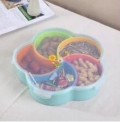 梅花形五色分格瓜子盘  (40个/箱)个 蓝色 见详情