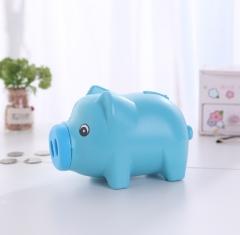 卡通可爱小猪存钱罐 零钱桶 48个/件 蓝色 卡通