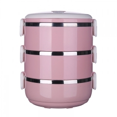 不锈钢保温盒便当盒 北欧粉 三层16*14.6*20cm 60/箱