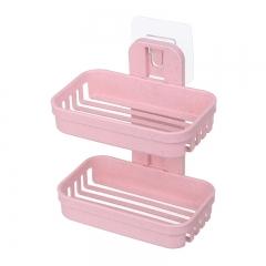 双层吸盘皂盒肥皂架 粉色 13.2*8.2*17