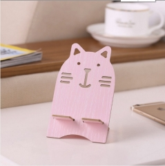 木质卡通手机支架小猫(500个/箱)个 粉色 13*8.3*7.5cm