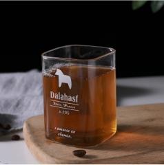 耐热方形玻璃杯牛奶饮料果汁杯 无售后 矮款 8.5*6 矮款小马 8.5*6