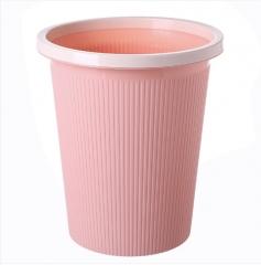 素色条纹圆形垃圾桶塑料无盖垃圾桶 中号 60个/箱 25*28*18cm 粉色 25*28*18cm