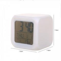第二代七彩变色心情闹钟(白色无图案) 100/箱 白色 7.8*7.8*7.8cm