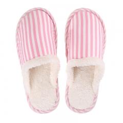 日式简约条纹居家情侣棉拖冬季加绒棉拖鞋80/箱 浅粉条纹 36-37