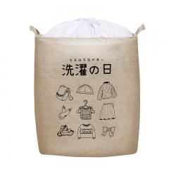 日系棉麻可折叠脏衣篓(50个/箱)个 颜色随机 见详情