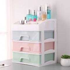 三层抽屉收纳盒  白架马卡龙化妆盒 单个包装 三色混搭 27*20*31cm