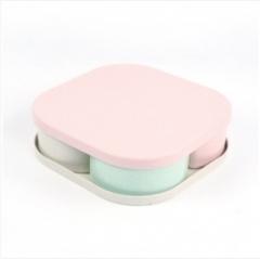 小麦秸秆糖果/塑料4格干果瓜子盘  (32个/箱)个 方型 见详情