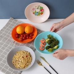 带花塑料菜盘混款22cm