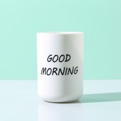创意早安杯印刷logo浴室洗漱杯牙缸 350个/箱 如详情所示 白色 如详情所示