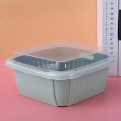 双层沥水篮保鲜盒水果篮  (60个/箱)个 绿色 见详情