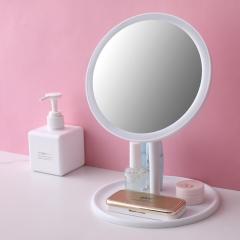 圆底可拆卸LED化妆镜 充电三色光白色 见详情