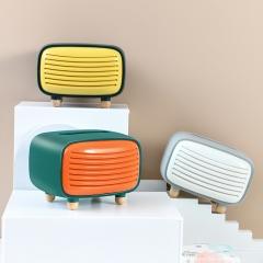 新款复古收音机纸巾盒24/箱 蓝黄色 14.5*16*19.5cm