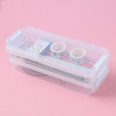 两层透明文具盒家务收纳盒 白色 见详情