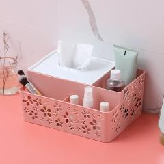 桌面纸巾抽五叶花化妆品收纳盒   60个/箱 粉色 见详情
