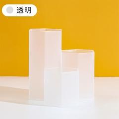 磨砂棱形三格笔筒桌面收纳盒  (126个/箱)个 透明白 见详情