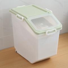 家用带卡扣储米箱带滑轮白30斤 绿色 见详情