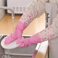 加绒宽口洗碗手套女厨房加厚橡胶乳胶手套  200/箱 粉色 见详情