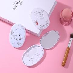 韩版翻盖带梳化妆镜-混款(480个/箱)一箱八盒 每盒60个 单个卖