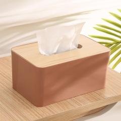 大号撞色纸巾盒(60个/箱)-个 胭脂红 见详情