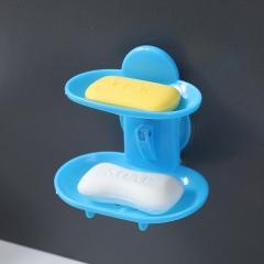 双层吸盘肥皂盒(240个/箱) 蓝色 如详情所示