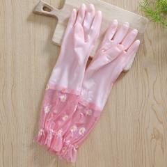 果冻色加绒荷花边洗碗手套橡胶乳胶手套(200个/箱)个 浅粉色 见详情