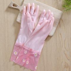 果冻色加绒宽口洗碗手套橡胶乳胶手套(200个/箱)个 浅粉色 见详情