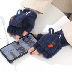 小兔子半指翻盖手套卡通毛绒冬季加绒加厚保暖手套12双/袋 藏青 见详情
