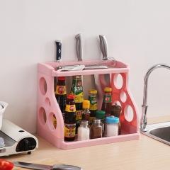 双层厨房调料置物架  (30个/箱)个 浅粉色 见详情